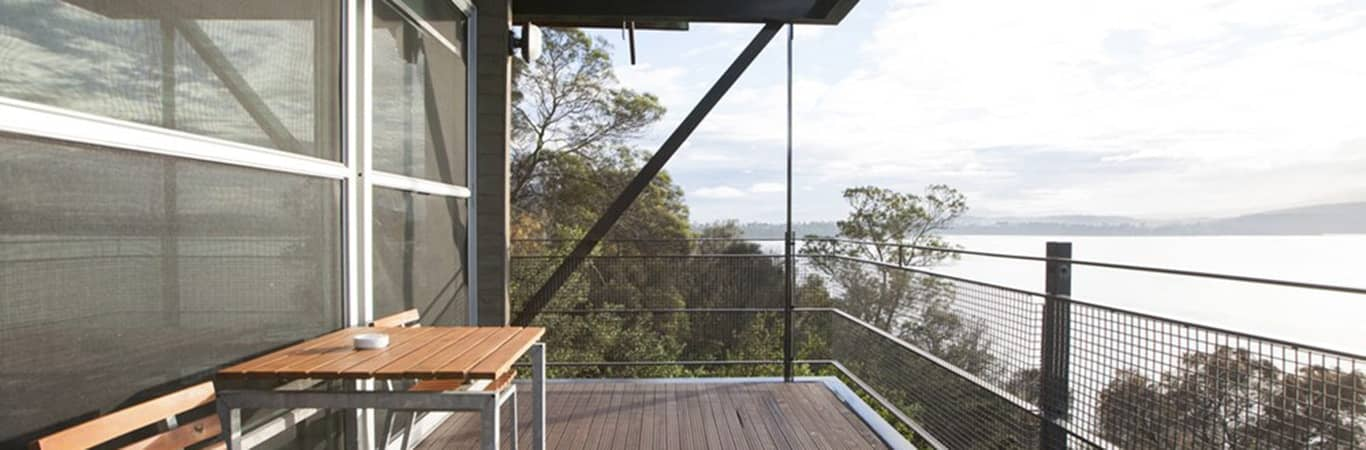 Balcony with harbour view at MONA