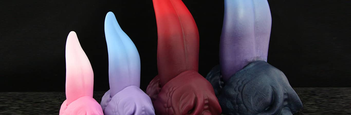 Dragon Tongue sex toys lined up in a row