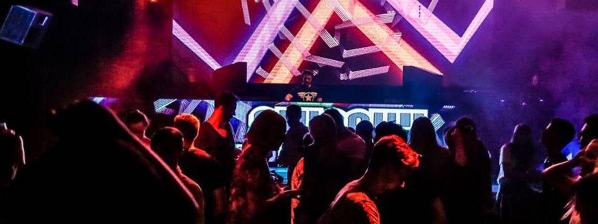 Gay nightclub with DJ and lights