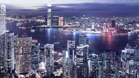 Hong Kong skyline with harbour and lights at night