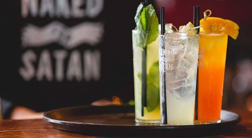 Naked for Satan bar Melbourne drinks glasses on tray