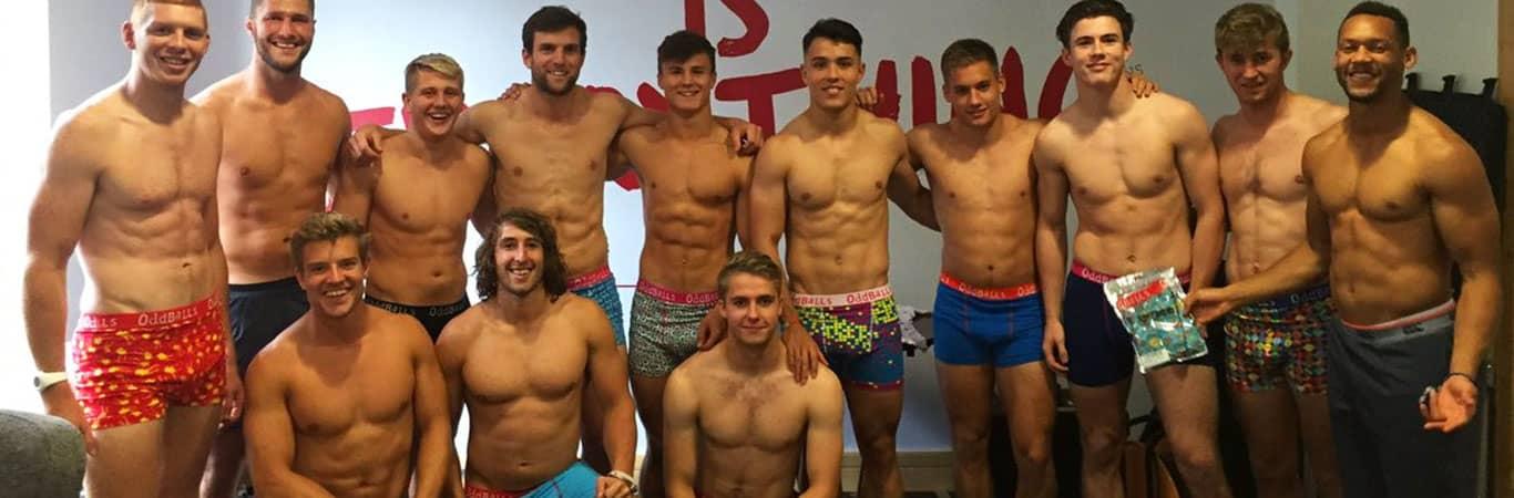 Welsh rugby players in Oddballs underwear