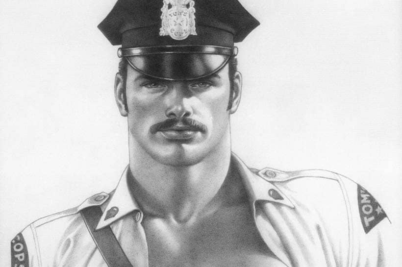 Tom of Finland police officer uniform pencil portrait