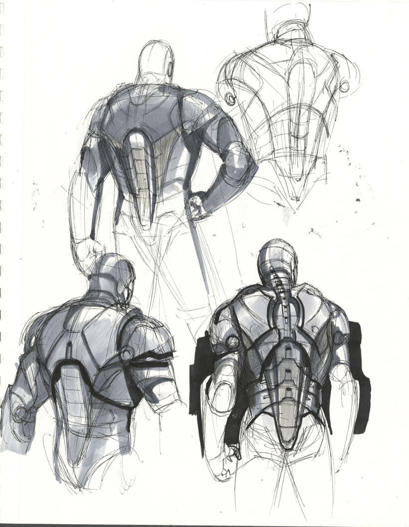 marvel iron man pencil drawing