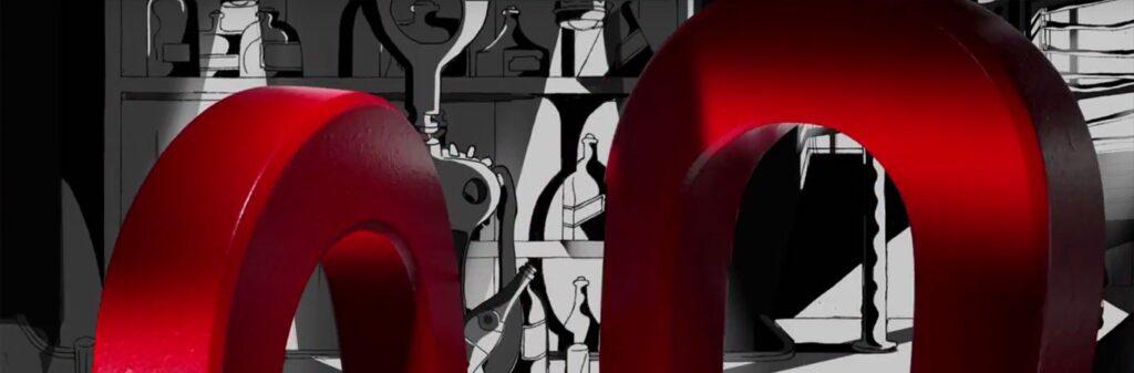 closeup big red magnets cartoon