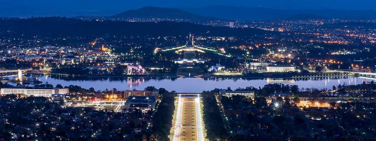 Canberra city scape and parliament house at night