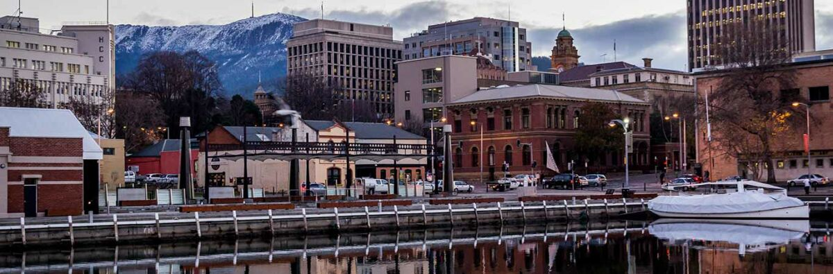 Hobart skyline with snow capped hills in the background