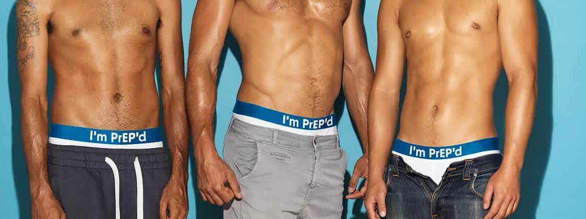 Three men in underwear with PrEP waistband