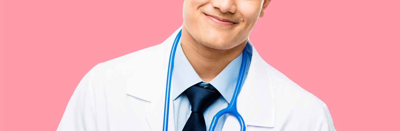 handsome smiling doctor with blue stethoscope