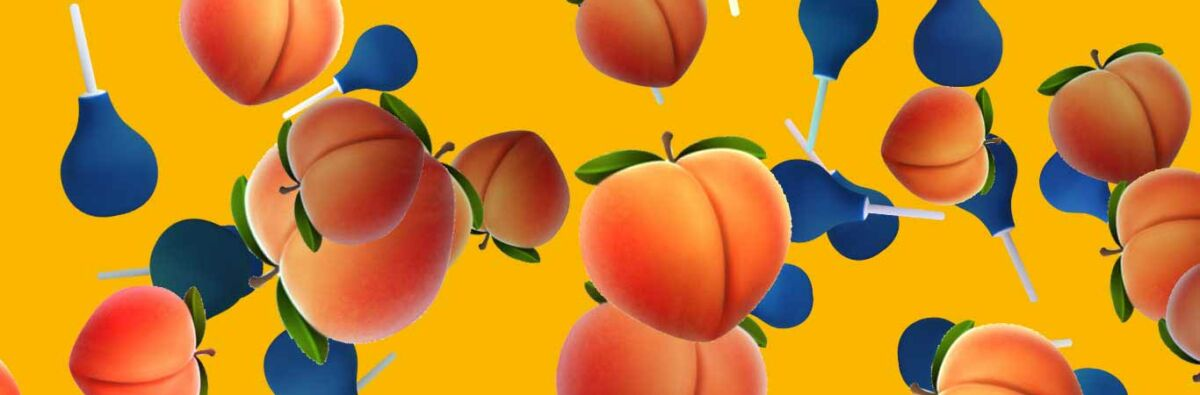 peach and douche pattern on yellow background
