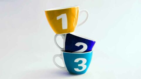 three stacked tea cups