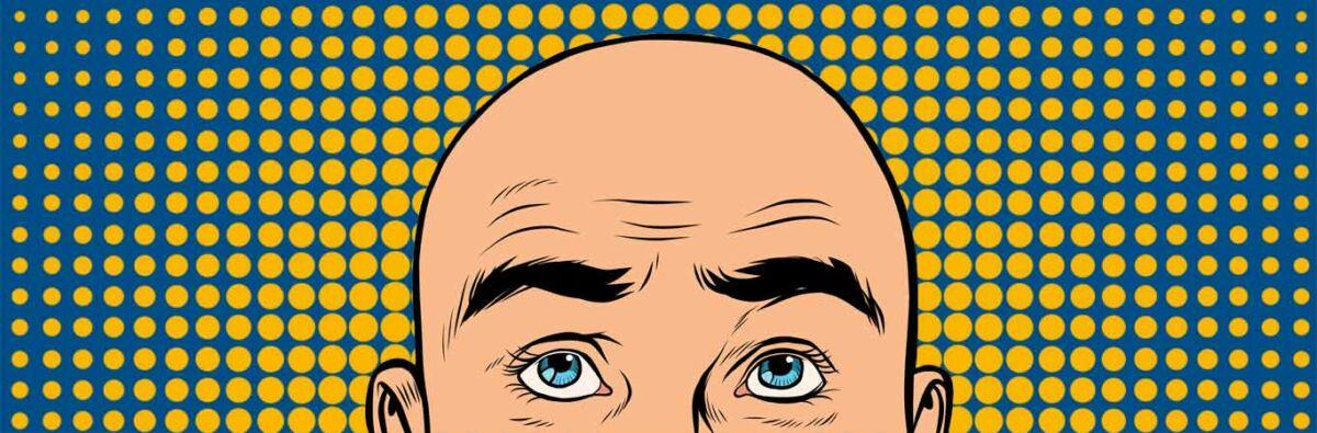 Bald cartoon man on yellow blue pop art background