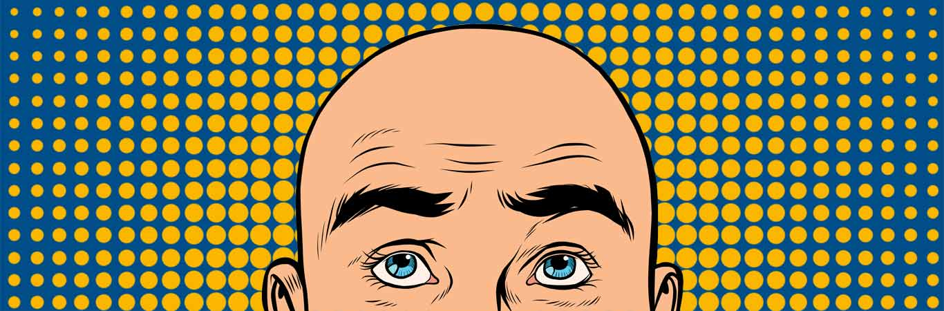 Bald cartoon man on yellow blue pop art background