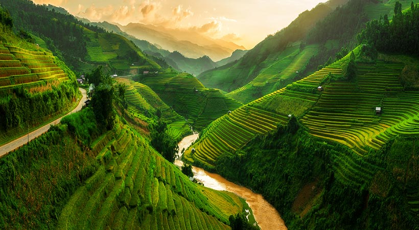 Mu Cang Chai terraced rice field near Sapa north Vietnam