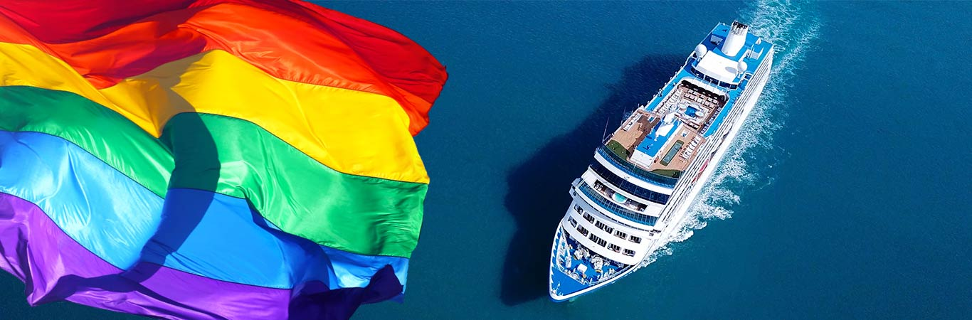 cruise ship sailing with rainbow pride flag