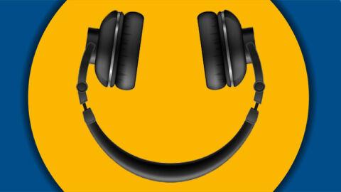 headphones upside down on yellow circle logo background