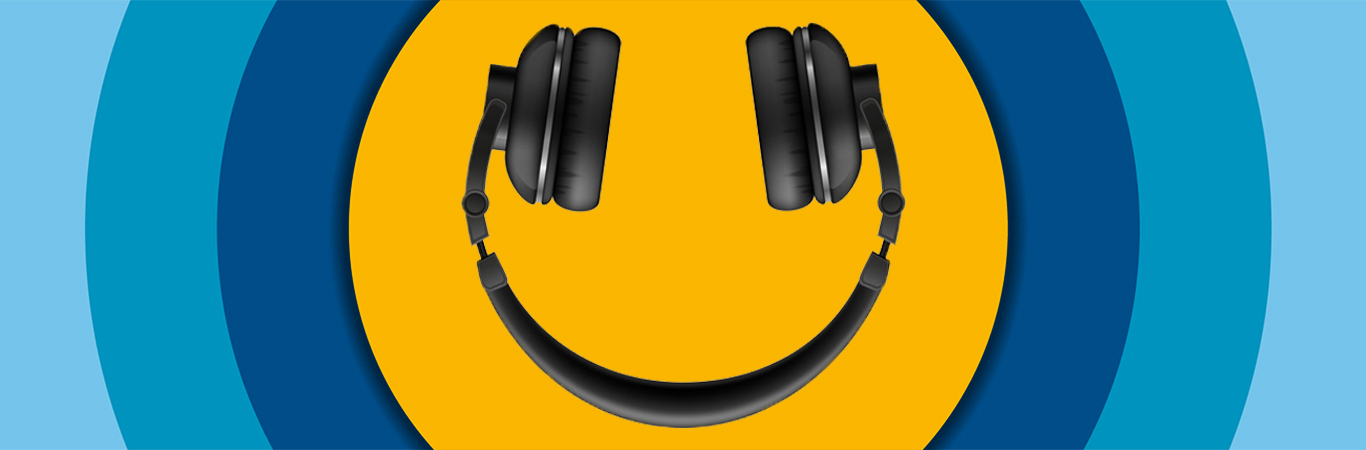 headphones upside down on yellow circle logo background