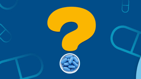 yellow question mark with HIV prep pills on blue background