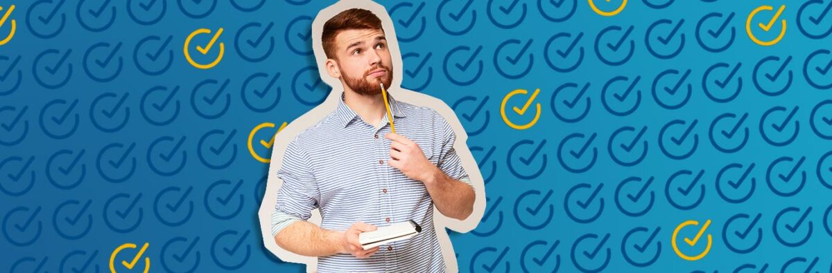 man with check list and pencil on background with checklist items checked off