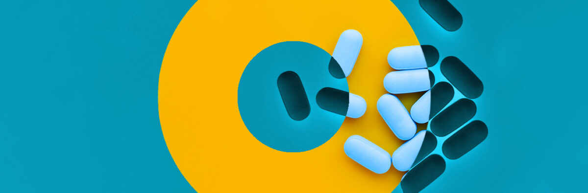 PrEP pills on yellow and blue background with circles focussing on missing a pill