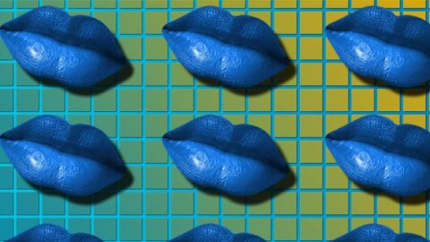 Blue lips repeated on yellow blue checkered background
