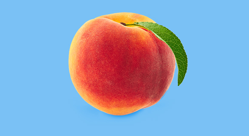 peach on pale blue background